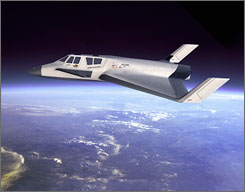 This artist's rendering provided by XCOR Aerospace shows the company's sub-orbital vehicle concept, the Xerus.