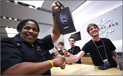 Geaorge Kennedy Jr. was the first in line last Friday to buy an iPhone at the Apple Store in Tyson's Corner, Virginia.