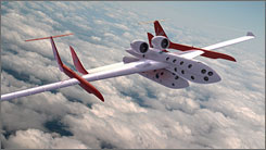 An artist's illustration of Virgin Galactic's SpaceShipTwo and drop-ship in flight.