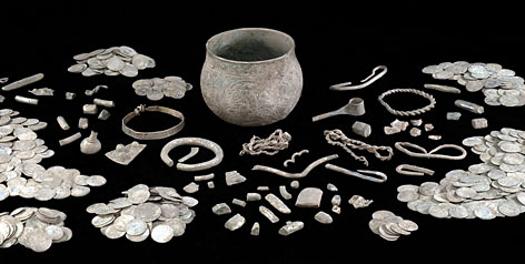 A ninth-century gilt silver vessel discovered by a father-son team of treasure hunters  in northern England. More than 600 coins and 65 other items were found in and around the vessel. The haul is one of the biggest Viking treasures ever found in Britain.