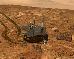 A NASA illustration of one of its two six-wheeled rovers operating on the surface of Mars.