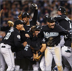 The Florida Marlins celebrate after defeating the New York Yankees 2-0 to win the World Series in New York. A study finds that Florida didn't deserve to win.