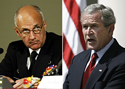 Former surgeon general Richard Carmona, left, and President Bush.