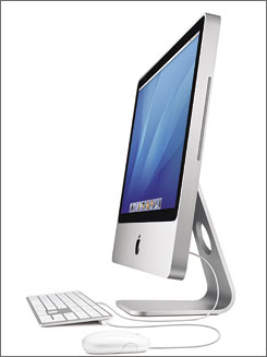 The new iMac comes in 20- and 24-inch flavors, with a redesigned thinner keyboard. Apple also announced updates to its iLife and iWork suites at an event in Cupertino, Calif.