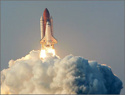 Endeavour lifts off from launch pad 39-A at the Kennedy Space Center August 8, 2007 in Cape Canaveral, Florida. The mission, transporting parts for the International Space Stat2ion and carrying educator astronaut Barbara Morgan, is the first flight for Endeavour since December 2002.