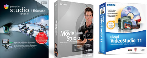 From right to left: The Pinnacle Studio 11 Ultimate, Sony Vegas Movie Studio Platinum Edition and the Corel Ulead VideoStudio 11 Plus.