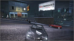 This Pontiac billboard, which appears in the 'Need for Speed: Carbon' video game, changes every time the player drives by it.