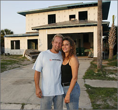 This is Non-nie Chrystal and husband Mark Baker, who are building what they call their 'Envirohome' in Indiatlantic, Fla.
