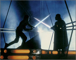 Luke Skywalker (Mark Hamill) and Darth Vader (James Earl Jones) in a scene from Star Wars Episode V - The Empire Strikes Back. A lightsaber will travel aboard the ISS.