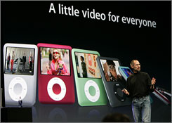 Apple CEO Steve Jobs introduces the new iPod Nano in San Francisco. 