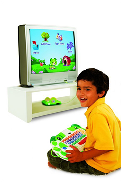 ClickStart My First Computer plugs into a TV and lets preschoolers enjoy interactive learning without a PC.