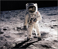 "Astronaut Edwin E. Aldrin Jr.  walking on the surface of the moon near the leg of the Lunar Module (ML) ""Eagle"" during the Apollo 11 extravehicular activity (EVA) in 1969. Lunar samples from  Apollo suggest the moon is very chemically similar to Earth's mantle."