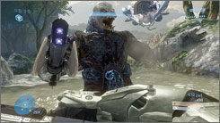 "A Covenant ""brute"" attacks in 'Halo 3.'"