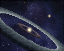 This artist's conception shows a binary system, called HD 113766, where astronomers suspect a rocky Earth-like planet is forming around one of the stars.