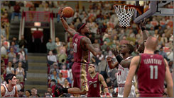 LeBron James rattles the rim in 'NBA 2K8.'