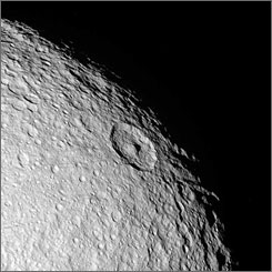 The northern polar region of Tethys, seen in this Cassini flyby image, is a ponderously ancient surface.