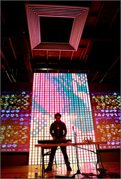 "Mauer plays the keyboards at the Blip Festival. So-called ""chiptune"" or ""8-bit"" music is building a cult audience among former Atari jockeys."