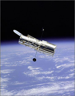 NASA's Hubble Space Telescope maintains its orbit around Earth. The space agency hopes to upgrade the aging observatory some time in August 2008.