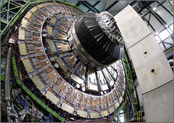 The world's largest superconducting solenoid magnet (CMS, Compact Muon Solenoid) at the European Organization for Nuclear Research (CERN)'s Large Hadron Collider (LHC) particle accelerator in Geneva.