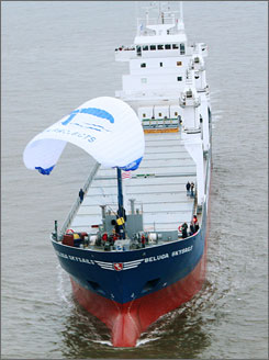 The MS Beluga Skysails is the first commercial cargo ship partially powered by a computer-controlled kite.