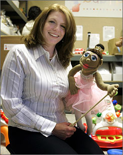 Lori Pope displays some of the toys at her toy rental company Baby Plays in Houston. Baby Plays is a company Pope launched in October that allows parents to receive four or six toys in the mail every month, assembled and ready for playtime.