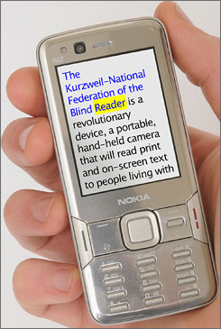 The Nokia N82 with knfbReader Mobile lets you take a picture of a page, then hear the printed words.