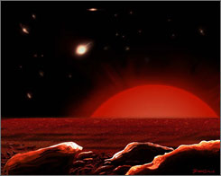 Artist's conception of the view of a hypothetical planet around a distant red giant star.