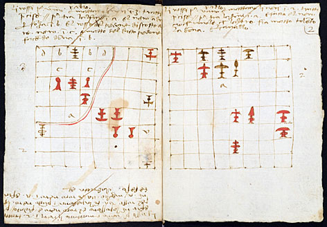 Drawings of chess puzzles in a chess treatise linked to Leonardo da Vinci.  The manuscript was penned by Luca Pacioli, a friend of Leonardo, and experts believe Da Vinci may have come up with the pieces that illustrate the puzzles the treatise discusses.