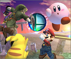 Link, from the 'Zelda' games (clockwise from upper left), Kirby, Mario and Pikachu are among the characters that do battle.