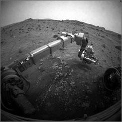 A robotic arm from Mars Exploration rover Spirit is shown on the 1,277th Martian day in this Aug. 6, 2007 photo.