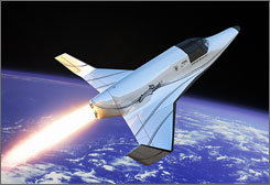 An illustration of the two-seat rocket ship capable of suborbital flights to altitudes more than 37 miles above the Earth. The Lynx, about the size of a small private plane, is expected to begin flying in 2010.