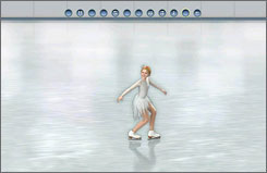 You help 10-year-old Mia compete in figure skating by pushing arrow buttons that match what is on the top of the screen.