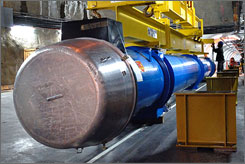 A large dipole magnet, part of the Large Hadron Collider (LHC) at CERN. The $2 billion accelerator is expected to uncover the so-called 'God particle' predicted by British physicist Peter Higgs.