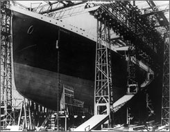 The hull of the S.S. Titanic. under construction in dry dock. The tragic sinking of the Titanic nearly a century ago can be blamed on low grade rivets that the ship's builders used on some parts of the ill-fated liner, a new book concludes.