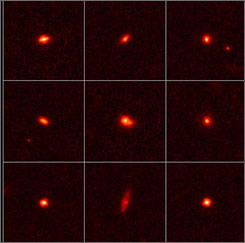 These images taken by NASA's Hubble Space Telescope show nine compact, ultradense galaxies as they appeared 11 billion years ago.