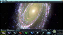 A view of the Messier 81 spiral galaxy in the constellation Ursa Major delivered by Microsofts Worldwide Telescope, a new interactive web application that  brings space exploration to the Internet.