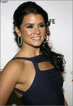 Danica Patrick arrives to the Sports Illustrated 2008 Swimsuit Issue launch party in New York, Tuesday, Feb. 12, 2008.
