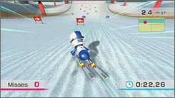 Going down a slalom course is one of the 40 activities on the Wii Fit.