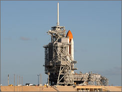 Space Shuttle Discovery sits on the launch pad at Kennedy Space Center on May 30, 2008 in Florida.