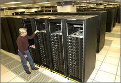 "Don Grice of IBM, in the company's Poughkeepsie, N.Y., plant, inspects the world's fastest supercomputer. Nicknamed ""Roadrunner,"" it was built for the Department of Energy's National Nuclear Security Administration."