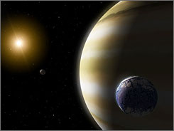 Artist's concept of an extrasolar gas giant with its moon.