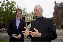 Executive Director John Palfrey, left, and co-founder Charles Nesson stand across the street from the Berkman Center for Internet & Society.