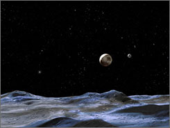 The artist's concept gives a view of the Pluto system from the surface of Nix or Hydra, two of its moons discovered in 2005. Nix and Hydra are two to three times farther from Pluto than its large moon, Charon (to the right of Pluto), which was discovered in 1978.