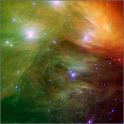 The Seven Sisters, also known as the Pleiades, in an image from NASA's Spitzer Space Telescope. The Pleiades was one of the starry clues scholars used to determine the day Odysseus returned to Ithaca.