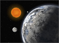 This artist's impression shows the newly discovered trio of super-Earths orbiting a sun-like star, HD 40307.
