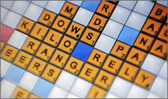 A view of Scrabulous, the unauthorized version of Scrabble for Facebook users.