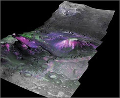 3D image of a trough in the Nili Fossae region of Mars, which had expansive outcrops of phyllosilicates.