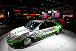 The Ford Fusion Hydrogen 999 fuel cell car at the 2007 Los Angeles Auto Show. It raced to 207.297 mph at Bonneville Salt Flats.