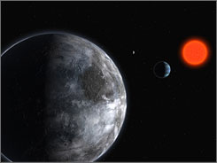 An artist's rendering of the planetary system around the red dwarf Gliese 581. Astronomers think Gliese 581's solar system is potentially as habitable as Earth, but think such solar systems overall may be rare.