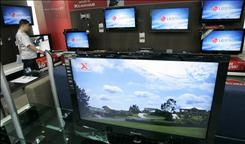 A display of plasma and lcd TVs in LG Electronics' home appliances